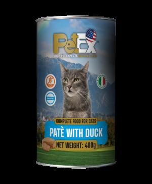 פטקס שימורי מזון מלא להזנת חתולים עם בשר ברווז במרקם פטה 400 גרם
