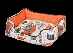 """פטקס מיטה מאויירת לכלב (דגם Vintage) צבע כתום במידה 90X70X24 ס""""מ"""