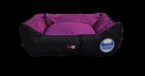 מיטה לכלב בצבע סגול מבד הדוחה מים גודל 75x60x22