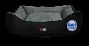 מיטה לכלב בצבע אפור ושחור מבד הדוחה מים גודל 90X70X24