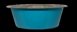 קערת מזון העשויה נירוסטה בצבע תכלת עם גומיות בתחתית למניעת החלקה 0.90 ליטר