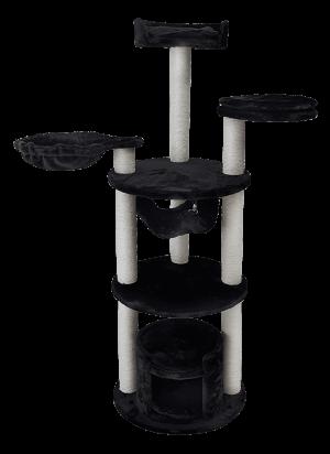"""מתקן גירוד מקצועי לחתול בצבע שחור דגם 3 קומות PS419 מידה 50X50X145 ס""""מ"""