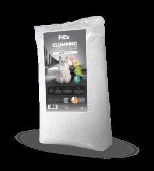 """חול מתגבש לחתול בתוספת פחם פעיל בצבע לבן במשקל 18 ק""""ג ניחוח טלק תינוקות"""