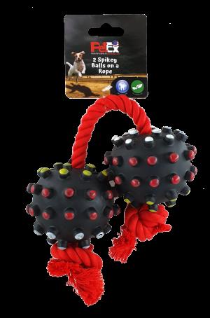 זוג כדורי משחק לכלב של חברת פטקס עם חבל אדום וצפצפה מובנית דגם EV088