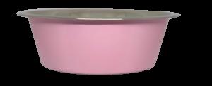 קערת מזון העשויה נירוסטה בצבע ורוד עם גומיות בתחתית למניעת החלקה 0.90 ליטר
