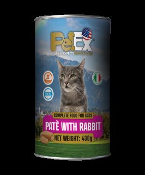 פטקס שימורי מזון מלא להזנת חתולים עם בשר ארנבת במרקם פטה 400 גרם