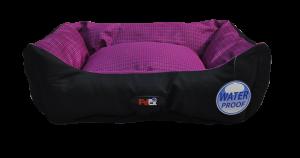 מיטה לכלב בצבע סגול מבד הדוחה מים גודל 90X70X24