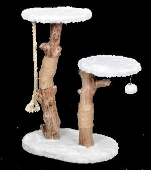 מתקן גירוד לחתול של חברת פטקס מעץ טבעי עם פרווה לבנה דגם HY18336