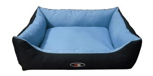 פטקס מיטה מפנקת לכלב בצבע תכלת ושחור מבד הדוחה מים 90X70X24 ס״מ
