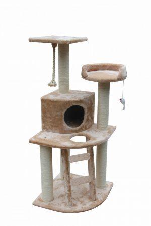 מתקן גירוד לחתול 3 קומות בצבע חום בהיר דגם SBE2009