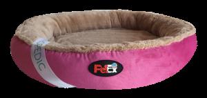 """מיטה עגולה לכלב בצבע ורוד עם מזרן אורתופדי בגודל 80 ס""""מ"""