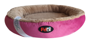 """מיטה עגולה לכלב בצבע ורוד עם מזרן אורתופדי בגודל 100 ס""""מ"""