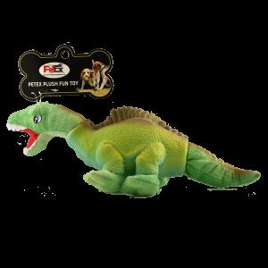 פטקס בובת משחק לכלב עשויה בד ולטקס טבעי בדמות דינוזאור בצבע ירוק