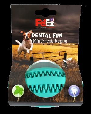 כדור רוגבי דנטלי לכלב באורך 11 סמ העשוי גומי טבעי וחזק דגם ER003