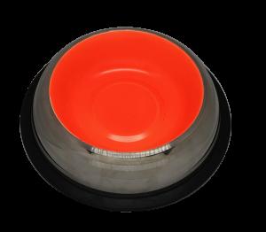 פטקס -קערת נירוסטה עם גומיות בתחתית בצבע כתום זוהר (דגם באלי) 0.45 ליטר