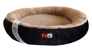"""מיטה עגולה לכלב בצבע שחור עם מזרן אורתופדי בגודל 80 ס""""מ"""