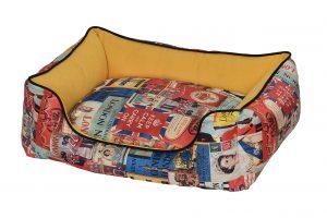 """פטקס מיטה מאויירת לכלב (דגם Vintage) צבע צהוב במידה 75X60X22 ס""""מ"""