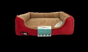 """פטקס – מיטה אורטופדית לכלב בצבע חום ואדום במידה 60x50x8 ס""""מ"""