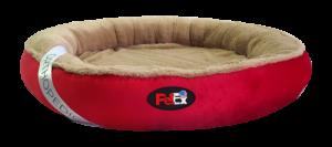 """מיטה עגולה לכלב בצבע אדום עם מזרן אורתופדי בגודל 60 ס""""מ"""