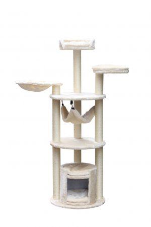 """מתקן גירוד מקצועי לחתול בצבע שמנת דגם 3 קומות PS419 מידה 50X50X145 ס""""מ"""