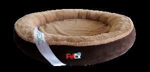 """מיטה עגולה לכלב בצבע חום עם מזרן אורתופדי בגודל 100 ס""""מ"""
