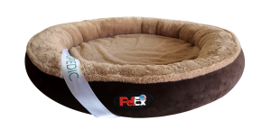 """מיטה עגולה לכלב בצבע חום עם מזרן אורתופדי בגודל 60 ס""""מ"""