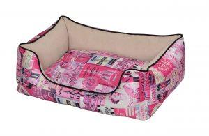 """פטקס מיטה מאויירת לכלב (דגם Vintage) צבע ורוד במידה 75X60X22 ס""""מ"""