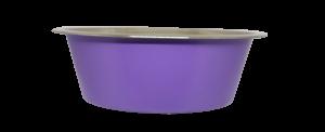 קערת מזון העשויה נירוסטה בצבע סגול עם גומיות בתחתית למניעת החלקה 1.80 ליטר