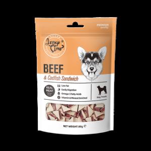 גרקי טיים -מזון מלא לכלבים -בקר עם דג בקלה (סנדוויץ') 80 גרם