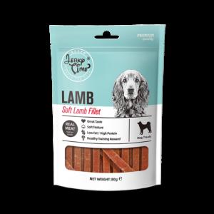 גרקי טיים – נתחי פילה כבש וברווז – רצועות רכות – מזון מלא לכלבים – 80 גרם