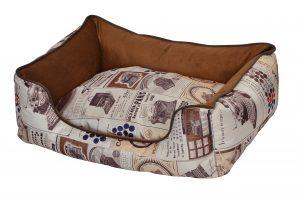 """פטקס מיטה מאויירת לכלב (דגם Vintage) צבע חום במידה 75X60X22 ס""""מ"""