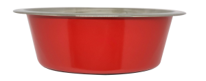 קערת מזון העשויה נירוסטה בצבע אדום עם גומיות בתחתית למניעת החלקה 0.45 ליטר