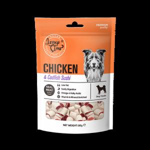 גרקי טיים- מזון מלא לכלבים – סושי עוף בשילוב דג בקלה -משקל כולל 80 גרם