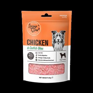 גרקי טיים -מזון מלא לכלבים-עוף עם דג סושי – במשקל כולל של 80 גרם