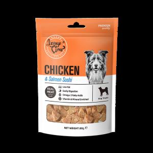 גרקי טיים -מזון מלא לכלבים – עוף + נתחי סלמון (לבבות) – משקל האריזה 80 גרם