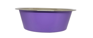 קערת מזון העשויה נירוסטה בצבע סגול עם גומיות בתחתית למניעת החלקה 0.90 ליטר