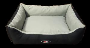 פטקס מיטה מפנקת לכלב בצבע אפור שחור מבד הדוחה מים – גודל בינוני