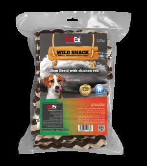 """אריזת חיסכון של עצמות קלועות מובחרות בגודל 15 ס""""מ לכלב בציפוי בשר עוף מיובש 1 ק""""ג"""