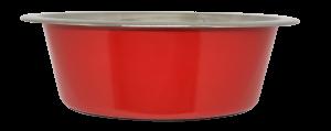 קערת מזון העשויה נירוסטה בצבע אדום עם גומיות בתחתית למניעת החלקה 2.80 ליטר