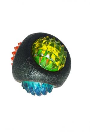 פטקס צעצוע זריקה דנטלי בצורת כדור בצבע שחור לכלב, בשילוב תאורת LED מהבהב בקוטר 8 ס״מ