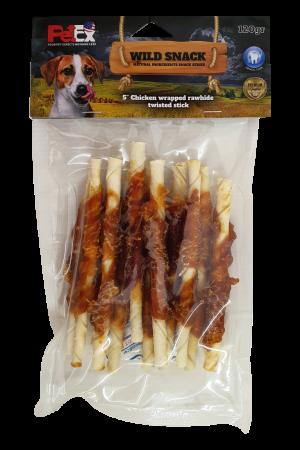 חטיף לכלב עם בשר עוף מיובש בצורת מקלות לעיסה ובמשקל כולל של 120 גרם