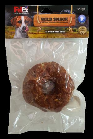 עצם דנטלית לכלב בצורת סופגנייה עם ציפוי בשר ברווז בגודל של 5 אינץ