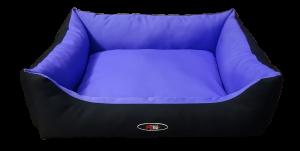 פטקס מיטה מפנקת לכלב בצבע סגול שחור מבד הדוחה מים – גודל בינוני