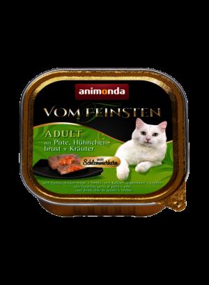 שימור וום פיינסטן לחתול בטעם ליבת גורמה עם הודו חזה עוף ועשבי תיבול