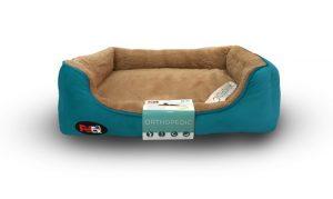 """פטקס – מיטה אורטופדית לכלב בצבע חום וכחול במידה 110x70x8 ס""""מ"""