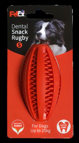 כדור רוגבי דנטלי לכלב עשוי גומי טבעי וחזק באורך 9 ס״מ ER003 מידה S