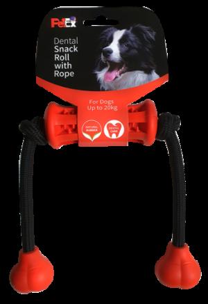 משחק דנטלי לכלב, גומי טבעי בשילוב חבל כותנה דגם ER008 מידה S