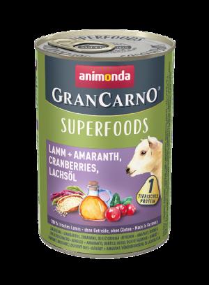 שימור גראן קרנו לכלב בטעם טלה + אמרנטוס, חמוציות, שמן סלמון